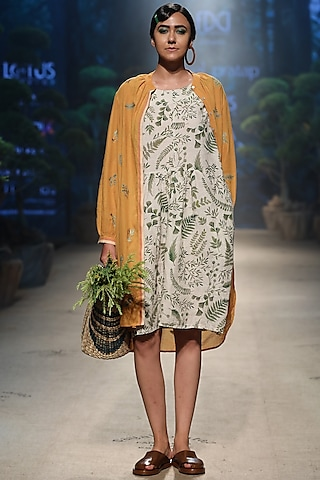 Mustard Embroidered Overlay Jacket by Payal Pratap