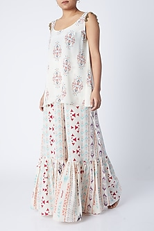 Cream Ikat Printed Top With Sharara by Payal Singhal-SHOP BY STYLE