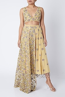 Pale Yellow Embroidered Lehenga Set by Payal Singhal