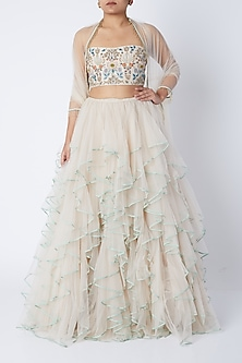 Stone Beige Embroidered Lehenga Set. by Payal Singhal-SHOP BY STYLE