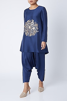 Navy Blue Embroidered Tunic With Pants by Payal Singhal-PRODUCTS ON DISCOUNT