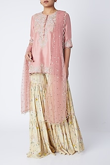 Rose Pink Embroidered Sharara Set by Payal Singhal-PRODUCTS ON DISCOUNT