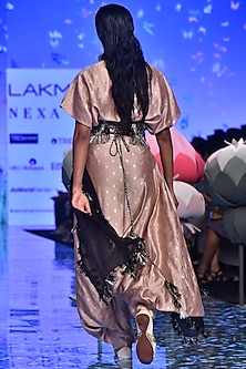 Blush Pink Top With Pants, Black Dupatta & Belt by Payal Singhal