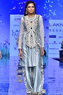 Pale Blue Embroidered Kurta With Palazzo Pants by Payal Singhal