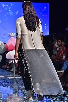 Stone Embroidered Kurta With Black Pants by Payal Singhal