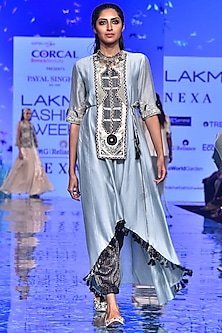 Pale Blue Embroidered Kurta With Black Striped Pants by Payal Singhal