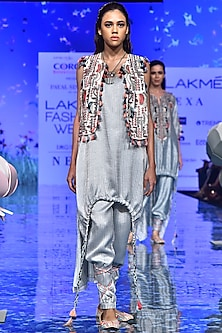 Chalk White Embroidered Jacket With Pale Blue Kurta & Pants by Payal Singhal