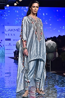 Pale Blue Embroidered Kaftan With Jogger Pants by Payal Singhal