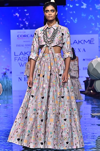 Lavender Printed & Embroidered Blouse With Lehenga by Payal Singhal