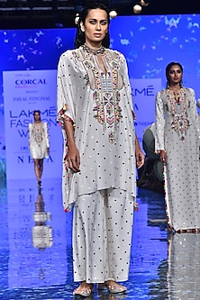 Off White Embroidered Kaftan With Palazzo Pants by Payal Singhal