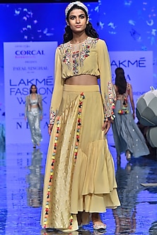 Pale Yellow Embroidered Top With Skirt by Payal Singhal