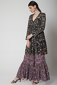 Black & Eggplant Purple Printed Sharara Set by Payal Singhal