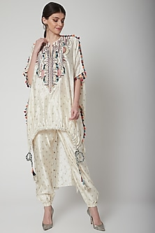 Off White Embroidered Kaftan With Pants by Payal Singhal