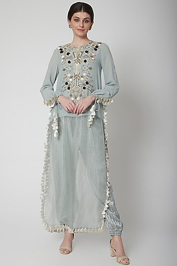 Pale Blue Embroidered Kurta With Pants by Payal Singhal
