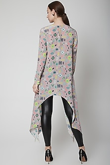 Lavender Printed Tunic With Side Trail by Payal Singhal