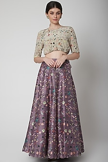 Khaki Green Printed Blouse With Eggplant Purple Lehenga by Payal Singhal