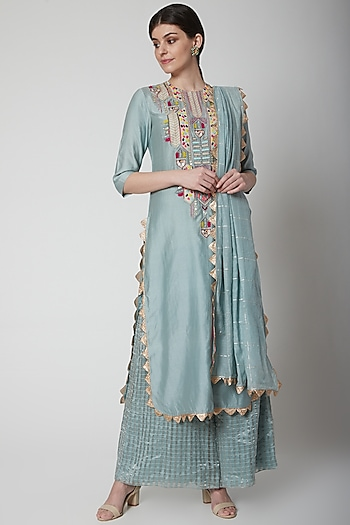Pale Blue Embroidered Kurta Set by Payal Singhal