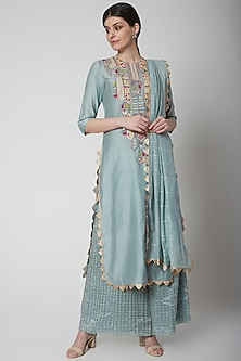 Pale Blue Embroidered Kurta Set by Payal Singhal-Shop By Style