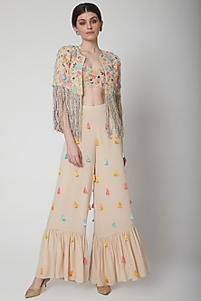 Stone Embroidered Jacket Set by Payal Singhal