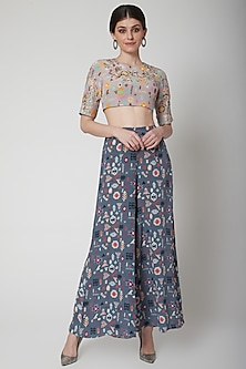 Lavender Embroidered Blouse With Blue Pants by Payal Singhal