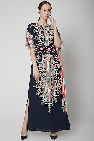 Navy Blue Embroidered Kaftan With Belt by Payal Singhal