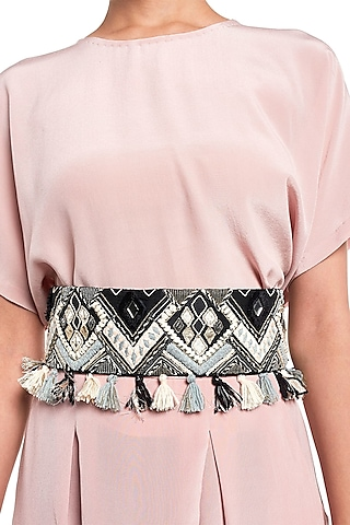 Black Geometric Embroidered Belt by Payal Singhal
