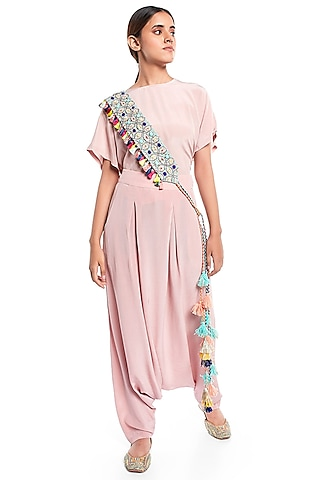 Pale Blue Embroidered Belt by Payal Singhal