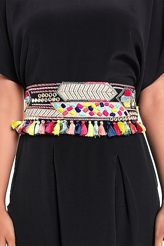 Black Embroidered Belt With Tassels by Payal Singhal