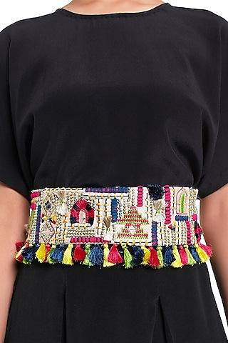 Stone Embroidered Belt With Tie-Up by Payal Singhal