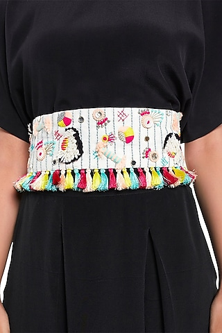 Cream Embroidered Belt With Tie-Up by Payal Singhal