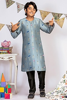 Powder Blue Printed Kurta Set by Payal Singhal