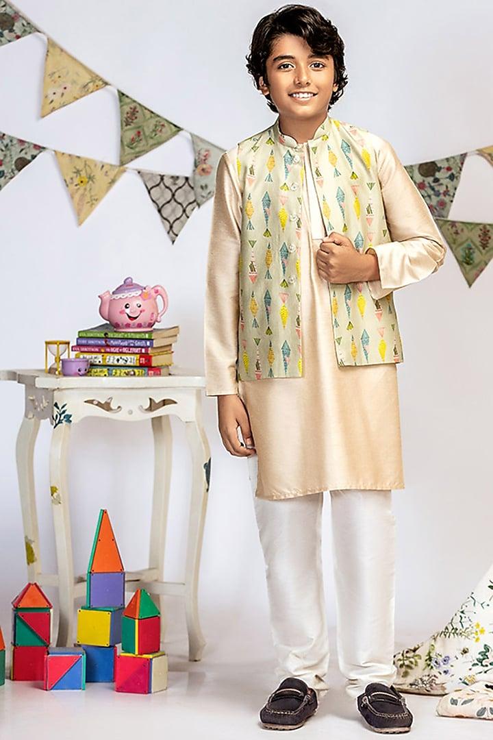 Green Printed Jacket Set by Payal Singhal Kids