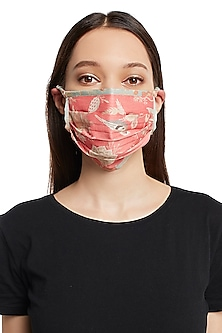 Coral & Aqua Reversible Printed 3 Ply Mask With Pouch by Payal Singhal