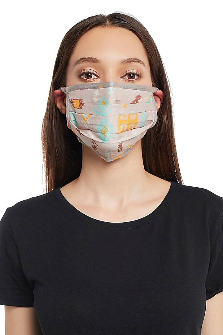 Lavender & Grey Reversible Printed 3 Ply Mask With Pouch by Payal Singhal