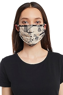 Blush Pink & Black Reversible Printed 3 Ply Mask With Pouch by Payal Singhal
