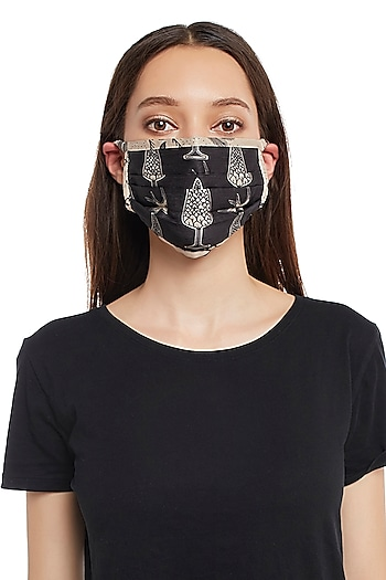 Black & Blush Pink Reversible Printed 3 Ply Mask With Pouch by Payal Singhal
