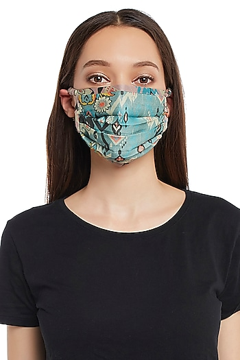 Blue & Pink Reversible Printed 3 Ply Mask With Pouch by Payal Singhal