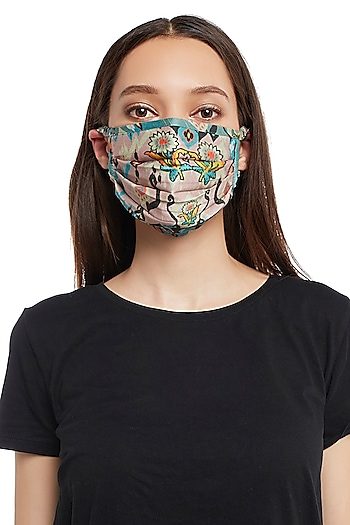 Pink & Blue Reversible Printed 3 Ply Mask With Pouch by Payal Singhal