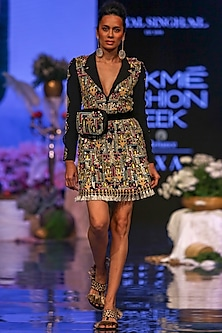 Black Embroidered Coat Dress by Payal Singhal