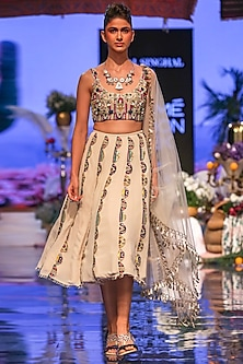 Multi Colored Embroidered Scallop Lehenga Set by Payal Singhal