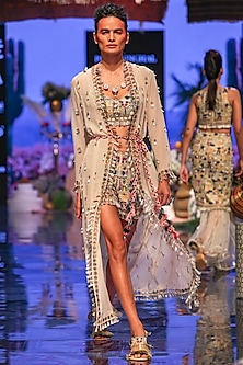 Multi Colored Embroidered Bustier With Shorts & Jacket by Payal Singhal