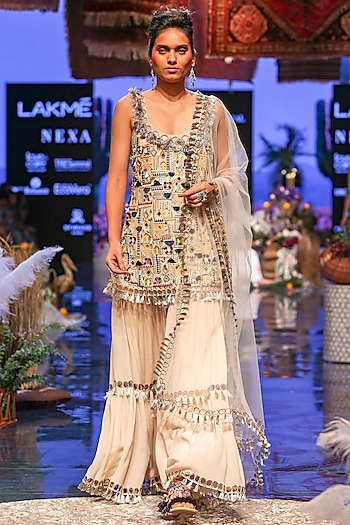 Multi Colored Embroidered Sharara Set by Payal Singhal