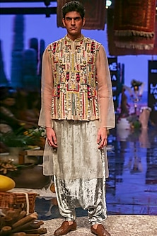 Periwinkle Blue Embroidered Kurta Set With Multicolored Jacket by Payal Singhal Men