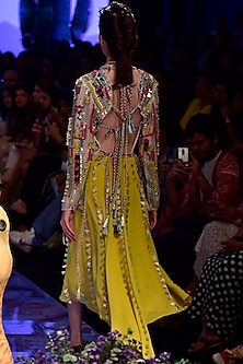 Multi Colored Embroidered Jacket With Lime Green Skirt by Payal Singhal