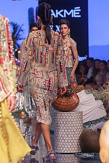 Multi Colored Embroidered Top With Skirt by Payal Singhal