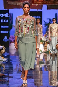 Periwinkle Blue Embroidered Top With Culotte Pants by Payal Singhal