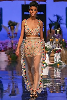 Multi Colored Embroidered Bustier With Shorts & Pants by Payal Singhal