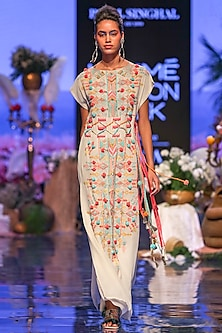 Chalk White Embroidered Kaftan With Belt by Payal Singhal