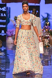 Chalk White Embroidered Blouse With Lehenga Skirt by Payal Singhal