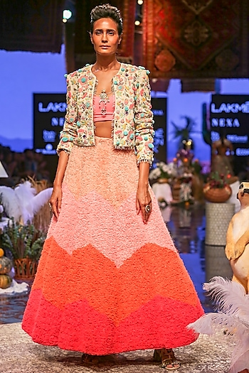 Chalk White & Neon Pink Embroidered Jacket Lehenga Set by Payal Singhal